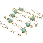 REDUCED Caged Turquoise Bead Station Necklace 14k Gold