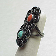 SOLD Vintage Ring Sterling Silver Turquoise & Red Coral