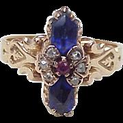 Victorian Rose 10k Gold Ring Multiple Gemstone