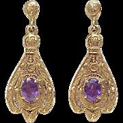 Victorian Revival Ornate Dangle Earrings 14k Gold Amethyst