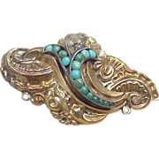 Victorian Brooch 9k Gold Turquoise & Seed Pearl 1850