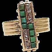 Victorian Ring Rose Cut Diamond & Persian Turquoise