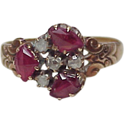 REDUCED Victorian Ring Rose Cut Diamond & Pigeon Blood Ruby