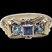 Vintage Bow Ring Sapphire & Blue Zircon 10k Gold