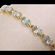 SALE Aquamarine Line Bracelet 5.0 Carat 14k Gold