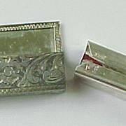 REDUCED Vintage Taxco 800 Silver Chrysoprase Mirrored Lipstick Case