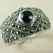 SOLD Vintage Sterling Silver Onyx & Marcasite Ring