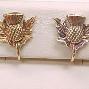 Vintage Screw Back Earrings 9ct European Gold, Scottish Thistle