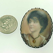 REDUCED Victorian Hand Painted Portrait Brooch Sterling Silver