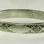 SALE Vintage SIAM Sterling Silver Black & White Enamel BANGLE Bracelet