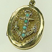 REDUCED Victorian Gold Filled Locket & Fob with Slide ANCHOR Turquoise & Seed Pearl Accent