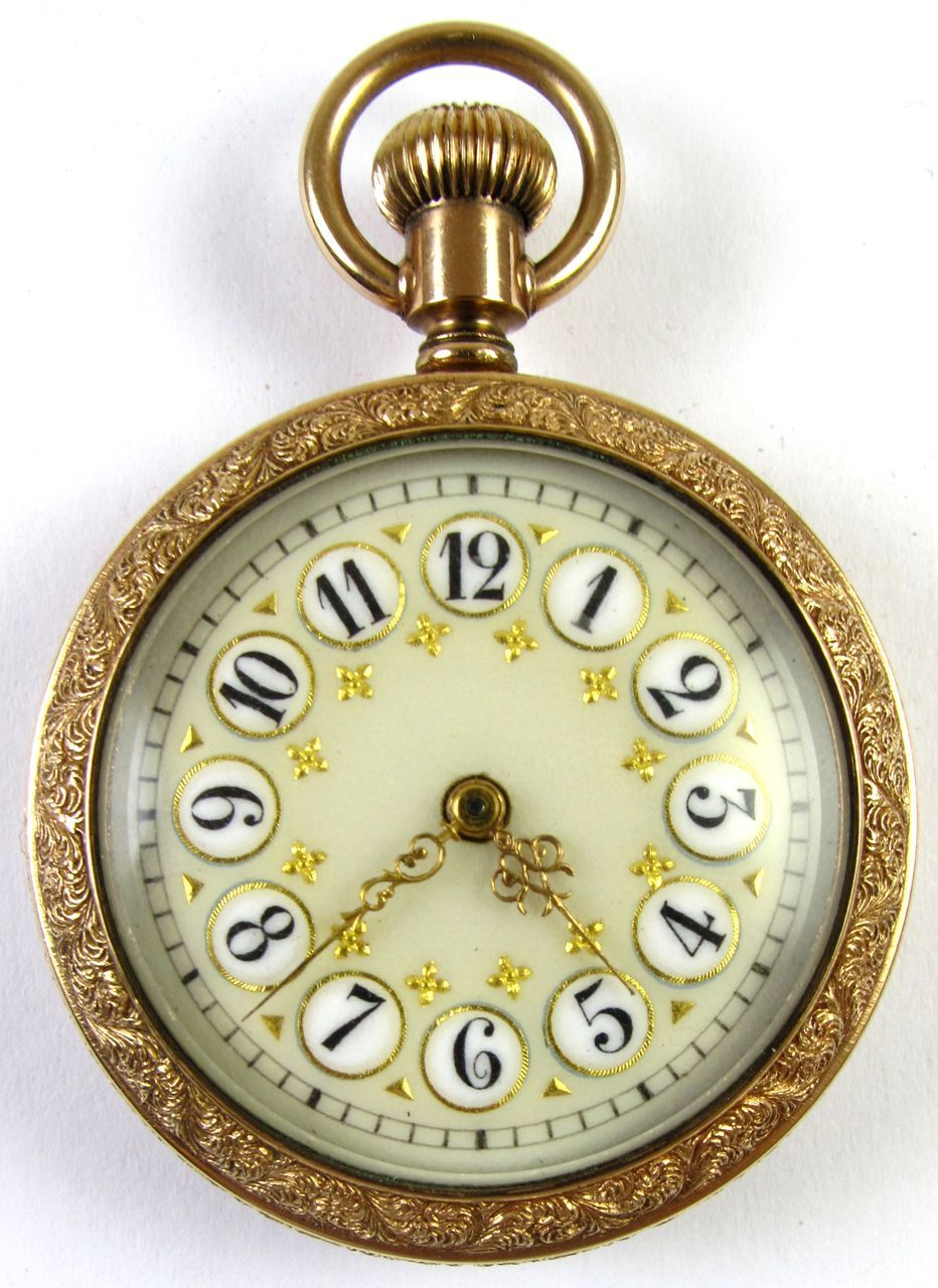 10k Gold Addison Enameled Dial Pocket Watch From