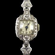 Art Deco Platinum & Diamond Ladies Hamilton Watch