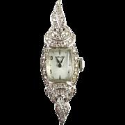Art Deco 14k White Gold & Diamond Ladies Hamilton Watch