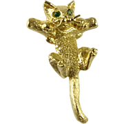 REDUCED 14k Hang in There Baby Kitten Pendant