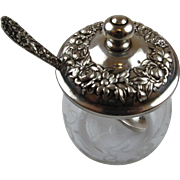 Kirk&Son Repponse Sterling Silver & Etched Glass Sugar Bowl