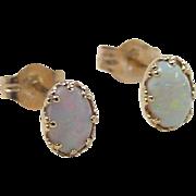 Vintage 14k Gold Opal Stud Earrings