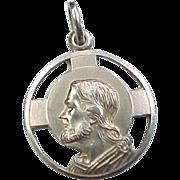 Vintage 14k Gold Religious Medallion Charm, Jesus