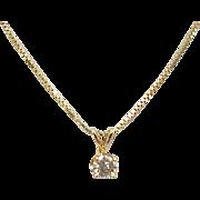 Vintage Diamond Solitaire 18k Gold Necklace .30 Carat
