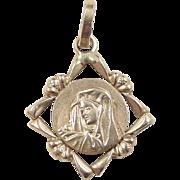 Vintage 18k Gold Virgin Mary Charm / Pendant