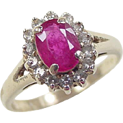 Vintage 14k Gold 1.76 ctw Natural Ruby and Diamond Ring