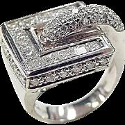 Modernist 18k White Gold 2.20 ctw Diamond Ring