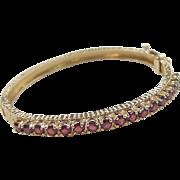 Vintage 14k Gold 4.25 ctw Garnet Bangle Bracelet