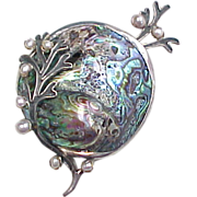 LARGE Sterling Silver Nautical Abalone Shell and Pearl Brooch / Pin