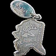 Vintage Sterling Silver State of Alaska Charm