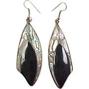Vintage Alpaca Silver Abalone Shell and Onyx Earrings