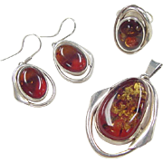 SALE Vintage Sterling Silver Amber Set ~ Earrings, Pendant and Ring