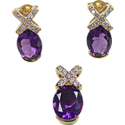 Vintage 14k Gold 4.90 ctw Amethyst and Diamond Set ~ Earrings and Pendant