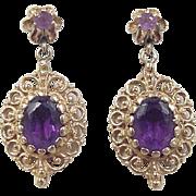 Victorian Revival 14k Gold 2.58 ctw Amethyst Earrings