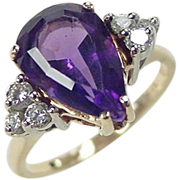 Vintage 14k Gold 4.26 ctw Pear Amethyst and Diamond Ring