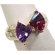 Vintage 14k Gold Unique Amethyst and Garnet Ring with Diamond Accents