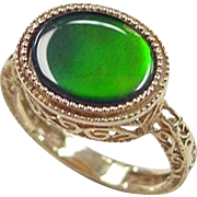 Vintage 14k Gold Ornate Ammolite Ring