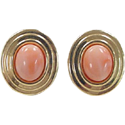 Vintage 14k Gold Angel Skin Coral Stud Earrings