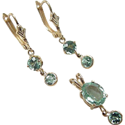 Vintage 14k Gold Apatite Set ~ Earrings and Pendant