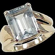 Vintage 14k Gold 3 Carat Aquamarine Ring