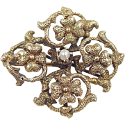 Art Nouveau 14k Gold Detailed Flower Pin / Brooch / Pendant with Small Cultured Pearl Accent