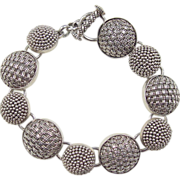 Vintage Sterling Silver Bead and Weave Design Button Bracelet