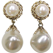 Vintage 14k Gold Baroque Pearl Screw Back Earrings