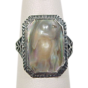 SOLD Victorian Sterling Silver Blister Pearl Ring