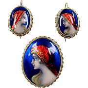 Victorian Revival 14k Gold Limoges Female Painted Portrait with Red Foil Headscarf Pin and ...
