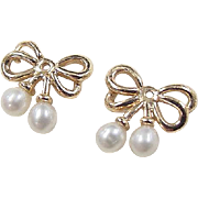 Vintage 14k Gold Cultured Pearl BOW Earring Jackets