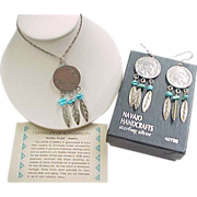 REDUCED Vintage Sterling Silver Navajo Made Buffalo Nickel and Turquoise Set ~ Necklace and Ea