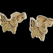Vintage 14k Gold Butterfly Stud Earrings