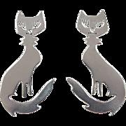 Vintage sterling Silver Big Cat Earrings