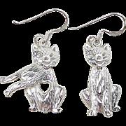 Vintage Sterling Silver Cat Heart Earrings