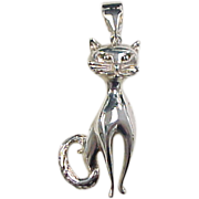 Vintage Sterling Silver Cat Pendant